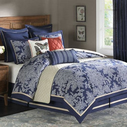 Home Decorators Collection - Middleton II Comforter Set - A porcelain blue background that's balanced by countless swirls of white creates a luxurious bedroom appearance. Regal, but oh-so graceful, this comforter set is the top-of-the line of bedding sets and quilts. Accented by a clean white trim around the comforter edges. An excellent choice that appeals to both feminine and masculine design sensibilities and a pleasure to slip into every evening! 100% polyester jacquard, 10 oz polyester filling. Queen set includes: comforter, 2 standard shams, bedskirt, 2 Euro shams and 3 decorative pillows. King set includes: comforter, 2 king shams, bedskirt, 3 Euro shams and 3 decorative pillows.