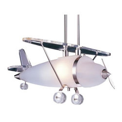 "ELK Lighting - Prop Plane Pendant by ELK Lighting - The details of a classic prop airplane are faithfully recreated in the ELK Lighting Prop Plane Pendant. The plane's main body is made out of frosty Satin glass, accented by Clear glass wings, wheels and tail. The metal details and supports are finished in a cool and complementary Satin Nickel. Will delight aviation enthusiasts of all ages.Founded in Eastern Pennsylvania in 1983, ELK Lighting designs and delivers ""Lighting for Distinctive Homes."" As such, the exclusive line of ELK Lighting products has extraordinary designer appeal matched by an emphasis on value and craftsmanship.The ELK Lighting Prop Plane Pendant is available with the following:Details:Satin and Clear glass shadeMetal frameSatin Nickel finishRound ceiling canopy2 stemsUL ListedLighting:One 60 Watt 120 Volt Medium Base Incandescent lamp (not included).Shipping:This item usually ships within 5-7 business days."