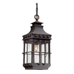 """Troy Lighting - Troy Lighting FCD8973 Dover 1 Light Outdoor Lantern Pendant - *Metalwork: Hand-Forged IronGlassware: Clear Seeded (CD)1 - 100W Medium Base (Not Included)8 1/2""""W 19 1/2""""HChain Hung Fixtures come with 4 Feet of Chain and 10 Feet of Wire"""