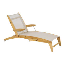 Frontgate - Curvilis Outdoor Teak and Sling Outdoor Chaise Lounge, Patio Furniture - Sling available in Off-White, Black or Ash. Responsibly crafted from beautiful Tropical Forest Trust (TFT)-certified plantation teak wood. Natural, unfinished teak has a fine-sanded finish and will weather to a beautiful silver/gray patina. Rust- and corrosion-resistant 304 stainless steel fittings add modern appeal. Add our Curvilis Sunshade (sold separately) to keep cool all afternoon. With a smooth, artful shape and comfortable construction, our Curvilis Teak and Sling Chaise makes a luxurious poolside or patio addition. The naturally weather-resistant kiln-dried teak and quick-drying Batyline mesh provide beautiful support season after season, while a perfectly sized pull-out tray is a welcome daily convenience.. . . . .