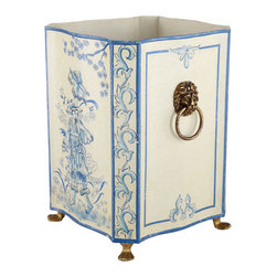 Icory and Blue Tole - Painted Bin - A wastebasket, a cachepot, or a planter––we loved this as all three containers. Made of iron and then handpainted, this bin displays a handsome Chinese prince painting with floral accents.