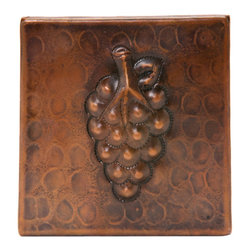 """Premier Copper Products - 4"""" x 4"""" Hammered Copper Grape Tile - 4"""" x 4"""" Hammered Copper Grape Tile"""
