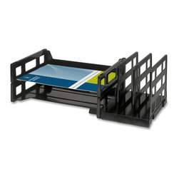 Business Source - Business Source Combo 2-Tray Vertical Organizer - Organizer combines two letter-size trays and three vertical side sorters to keep your documents just where you need them. Organizer is made of plastic.