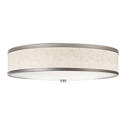 Kichler 3-Light Ceiling Fixture - Champagne - Three Light Ceiling Fixture This energy efficient lighting flush mount ceiling light features a drum shade shape with golden toned finishes for an elegant look. The champagne finished trim compliments the painted linen finish on the acrylic shade.