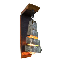 "Wine Country Craftsman - Tuscan - ""Petite"" wall sconce with Corba Pendant - Tuscan - ""Petite"" wall sconce with Corba Pendant - 100% Recycled"