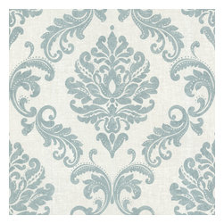 Beacon House - Sebastion Aqua Damask Wallpaper - Wrap a room in damask for instant drama! This wallpaper's large-scale damask pattern in soft aqua and cream gives your traditional dining room an eye-catching background without overpowering the rest of the room's decor.