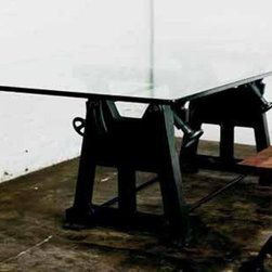 VRG3 Dining Table - District 8. Hand cast iron pressed legs, made from salvaged machine parts.