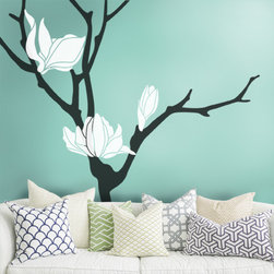 Magnolia Flower Tree Decal - A Beautiful and elegant way to decorate your bare wall!Your friends and family will think you've hired a professional interior designer!