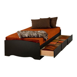 Prepac - Prepac Sonoma Black Twin XL Platform Storage Bed with Drawers - Prepac - Beds - BBX4105 - The practical design of this Platform Storage Bed combines extra deep drawers for plenty of storage space with a wood slat support system intended to distribute body weight evenly and minimize the amount of motion transfer. Functional and modern it will allow you to make the most of the available floor space in your bedroom.