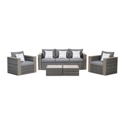 International Home Miami - Atlantic Mustang 5 Piece Wicker Conversation Set Grey w/ Grey Cushions - Mustang 5 Piece Wicker Conversation Set Grey with Grey Cushions belongs to Atlantic Collection by International Home Miami Great quality, stylish design patio sets, made of aluminum and synthetic wicker. Polyester cushion with water repellant treatment. Enjoy your patio with elegance all year round with the wonderful Atlantic outdoor collection.  Sofa(1), Armchair (2), Coffee Table (2)
