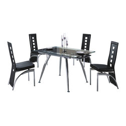 """American Eagle Furniture - 220DT & 104CH Extendable Black Glass Table & Vinyl Chairs 5 Piece Dining Set - The 220DT & 104CH dining set is a great addition for any dining room that needs a touch modern design. The dining table has a glass table top that features a black printed strip down the middle. The table comes in a standard size of 32.5"""" but can be extended up to 39"""" for larger gatherings. The frame of the table is crafted from polished stainless steel and has a four leg design. The chairs come upholstered in a stunning black vinyl material with high density foam placed within the cushion for added comfort. The chairs have a unique open square design on the back that adds to the overall look. The frame of the chairs are crafted from polished stainless steel with the backrests extending down to the legs. The dining set consist of a dining table and four chairs only."""