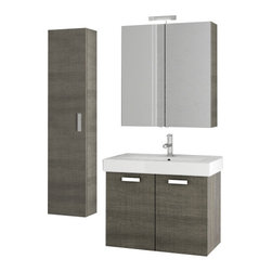 ACF - 30 Inch Grey Oak Bathroom Vanity Set - Manufactured and designed in Italy, this bathroom vanity set was made with the contemporary bathroom in mind.