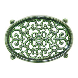John Wright - Small Oval Filigree Trivet, Green Majolica - Designed to match our small majolica Steamers, these trivets are porcelain-coated to resist rusting and chipping. The Majolica technique has a long, rich history in ceramics. By the time of the Italian Renaissance, Majolica had reached the height of technical perfection, and was exported all over the world, usually via the isle of Majorca, thus the name Majolica. It produces a deep, rich color with a high gloss. Used under Steamers, they protect your woodstove from scratches and also slow down the heating process (so you don't have to fill the steamers as frequently!). But there are many other creative uses - in the kitchen under hot pans, under a potted plant, or as the base of a table centerpiece.