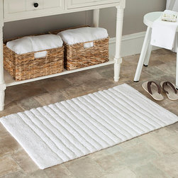 Safavieh - Spa 2400 Gram Stripes White 21 x 34 Bath Rug (Set of 2) - Turn any bathroom into a spa with an ultra luxurious extra dense bath rug. Bath rug measures 21 inches high x 34 inches wide and this item comes in a set of two.