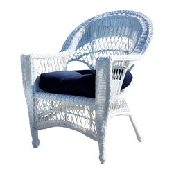 "Wicker Paradise - Outdoor Wicker Chair - Cape Cod - - ALL WEATHER outdoor wicker chair!  - Maintenance-free premium resin wicker on an aluminum frame. Wide flat arms and high-back ensure comfortable seating.  Inside wicker chair seat measures 20"" wide, 20"" deep.    When I took this picture of our best selling outdoor wicker chair, I knew it would be fun to add some filter effects, change the color of the fabric and make it a work of art. This is most famously grouped as a four piece set with two chairs, a wicker loveseat and table. One year a customer came in the store, picked one up and put it near the dining set he wanted. Since the gentleman was tall, comfort was a big factor in his decision making process and most dining chairs he could not imagine sitting in for more than 20 minutes at a time. The cape cod chair offered a roomy seating area and plenty of width for his arms to lay comfortably on. He shortly ordered six of these and puts them in his outdoor living space. Talk about a universal chair!"