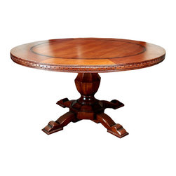 TerraSur - Siena Round Dining Table - Hand carved from hardwood and hand finished in rich caramel, this exquisite table is all-around elegant. Glossy and gorgeous, it's a stunning centerpiece for your dining space. Made in Argentina.