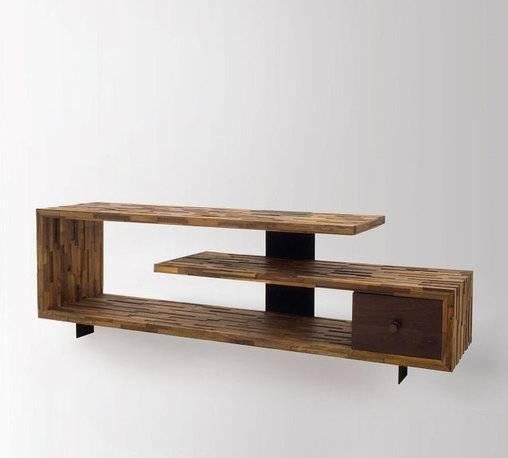 Jonah Reclaimed Wood TV Console Table - Merging old worlds and new, timeless style and livable home furnishings crafted by hand from sustainably harvested and reclaimed woods. This eclectic wood Media console feature juxtaposing warm patinas with rough and refined woods, lend a sense of history to any space, though never appear dated. The artistic use of tone ensures every one-of-a-kind piece is a focal point able to blend beautifully with others. Adds style points as a media center, low bookcase, floating, contemporary room divider or bed accent.