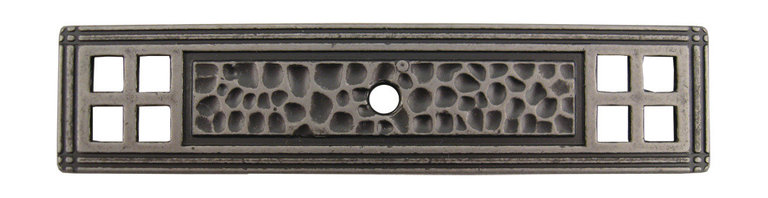 """Stone Harbor Hardware - Arts & Crafts Backplate for Cabinet Knobs, Weathered Nickel - The Arts & Crafts backplate coordinates beautifully with craftsman and transitional styles. Designed for use with our Arts & Crafts knob (#9411), the backplate is available in three attractive finishes (satin nickel, flat black and weathered nickel) and features a hammered design.  The backplate measures 4-3/16"""" x 15/16"""" overall and is 3/16"""" thick."""