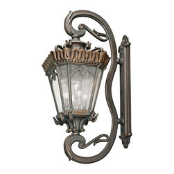 "KICHLER - KICHLER 9362LD Tournai Traditional European Outdoor Wall Sconce - With its heavy textures, dark tones, and fine attention to detail, the Tournai Collection stands out from other outdoor fixtures. Each piece is hand-made from cast aluminum, offering quality construction that is sure to withstand even the harshest of weather conditions. Our exclusive Londonderry finish and clear seedy glass panels give the piece its unique aged look. Variable Mounting Hardware included. Junction box 22"" - 42""."