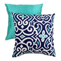 Decorative Damask Square Toss Pillow, Blue And White - What a beautiful throw pillow for spring and summer! It's reversible, allowing you to change things when you're feeling bored with your decor.