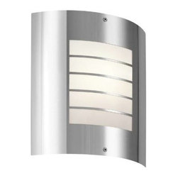 """Kichler - Kichler 6040PSS316 Newport 1 Light Outdoor Wall Sconce in Polished Stainless Ste - This 1 light outdoor wall sconce from the Newport Wall collection uses simple shapes to create an ultramodern outdoor fixture for your contemporary home.Single bulb outdoor wall sconces add a touch of elegance to any landscape Housing is constructed of metal - providing years of reliable performance Fully covered under Kichler's 1-year limited warranty Features Half Cylinder Shaped Glass Shade Pair this sconce with a variety of post lights from the Newport Collection for a coordinated landscape ADA compliant (fixture extends no more than 4"""" from wall mounting surface) Ultra secure mounting assemblyBulb Type: Fluorescent Bulbs Included: No Collection: Newport Country of Origin: China Energy Efficient: No Extends: 3-3 4 Finish: Polished Stainless Steel Height: 10-1 4 Light Direction: Ambient Lighting Number of Lights: 1 Shade Color: White Shade Material: Glass Shade Shape: Half Cylinder Shade Type: Frosted Socket Type: Medium Style: Contemporary Voltage: 120 Wattage: 30 Weight: 2.2 Width: 9-1 4"""