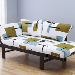 None - Elite Wood Abstract Block White Lounger - Whether sitting,lounging or sleeping,you'll love this unique and versatile lounger with an abstract block design against a white background. Relax in comfort on the soft mattress and included pillows.