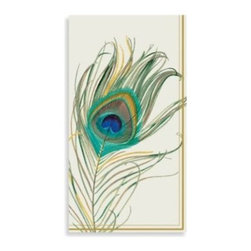 Boston International, Inc. - Peacock Feather Paper Guest Towels (Set of 16) - These lovely paper 3-ply guest napkins are great for buffets and/or the bathroom. Features an inspired design of a regal peacock feather.