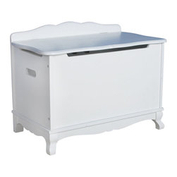 Guidecraft - Guidecraft Classic White Toy Box - Guidecraft - Toy Boxes & Chests - G85704 - The Classic White Collection is a beautiful combination of design function and features and is styled to coordinate with a variety of room decor. The collection features a soft white matte finish and gently scalloped silhouettes on key storage seating and dress up items.