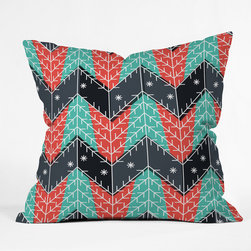DENY Designs - DENY Designs Sam Osborne Christmas Trees Throw Pillow - Wanna transform a serious room into a fun, inviting space? Looking to complete a room full of solids with a unique print? Need to add a pop of color to your dull, lackluster space? Accomplish all of the above with one simple, yet powerful home accessory we like to call the DENY Throw Pillow! Available in four sizes, our throw pillow is made from a medium weight woven polyester with a hidden zipper and removable bun insert.