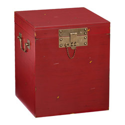 Upton Home - Upton Home Luz Side/ End Table - This Upton Home side/ end trunk features a large trunk space for storage and a chic rustic style. A distressed red finish and antique gold handles creates the perfect look for any room with transitional to contemporary style and décor.