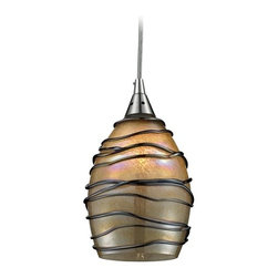 Elk Lighting - Modern Mini-Pendant Light with Dark Brown Accents - 31142/1 - Gain a contemporary feeling in your home by choosing the modern mini-pendant light with dark brown accents. This bell shaped down shade is crafted from beautiful brown glass and accented with textured hand-blown chocolate colored swirls. The cord hung fixture is made out of steel and finished in satin nickel. The aesthetic qualities of this light aren�t the only part of it�s charm; the line voltage wiring is set for 120v incandescent service and the fixture takes one frosted bulb. In addition this pendant light is only nine by five-inches and is compact enough for multiple applications. This light is part of the Vines Collection by Elk Lighting. Takes (1) 60-watt incandescent A19 bulb(s). Bulb(s) sold separately. Dry location rated.