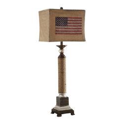 "Crestview - Crestview CVAUP764 Americana Table Lamp 39""Ht - Americana Table Lamp 39""Ht Americana Table Lamp 39""Ht.,Resin Nantucket Finish 14/14 x 14/14 x 11.5 American Flag Burlap Shade Table Lamp 39"""