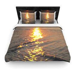 """Kess InHouse - Libertad Leal """"Still Waters"""" Sunset Fleece Duvet Cover (King, 104"""" x 88"""") - You can curate your bedroom and turn your down comforter, UP! You're about to dream and WAKE in color with this uber stylish focal point of your bedroom with this duvet cover! Crafted at the click of your mouse, this duvet cover is not only personal and inspiring but super soft. Created out of microfiber material that is delectable, our duvets are ultra comfortable and beyond soft. Get up on the right side of the bed, or the left, this duvet cover will look good from every angle."""