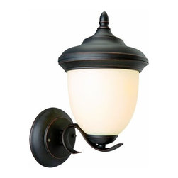 DHI-Corp - Trevie Outdoor Uplight, 8-Inch by 14-Inch, Oil Rubbed Bronze - The Design House 517680 Trevie Outdoor Sconce greets your guests at the door with a soft, inviting glow. Oil rubbed bronze finish with light amber glass will decorate your facade with a traditional elegance. Bold lines, rustic appeal and modern construction give your home great curb appeal. Illuminate a front porch or back deck with the classic design and bright finish of this modern-day lantern. Measuring 8-inches by 14-inches, this lamp matches brick, stone, wood paneling or aluminum siding. This light features a 60-watt medium base incandescent lamp and is rated for 120-volts. UL listed and UL approved for wet areas, this downlight stays bright in harsh weather conditions. Coordinate your home with fixtures and furnishings from the Trevie collection for a complete look. The Design House 517680 Trevie Outdoor Sconce comes with a 10-year limited warranty that protects against defects in materials and workmanship. Design House offers products in multiple home decor categories including lighting, ceiling fans, hardware and plumbing products. With years of hands-on experience, Design House understands every aspect of the home decor industry, and devotes itself to providing quality products across the home decor spectrum. Providing value to their customers, Design House uses industry leading merchandising solutions and innovative programs. Design House is committed to providing high quality products for your home improvement projects.