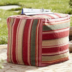 """Hermosa Stripe Recycled Yarn Indoor/Outdoor Cube Cover with Water Repellent Inse - This durable cube cover is woven over a hand loom by skilled weavers in a mix of warm and cool hues. Our comfy outdoor cube insert (sold separately) is designed to fit this cube. 18"""" cube Top and sides are made of recycled materials. Top and sides are yarn dyed for vibrant, lasting color. Bottom is solid beige cotton. Zipper closure. Water repellent insert sold separately. Spot clean. Imported. Internet Only."""
