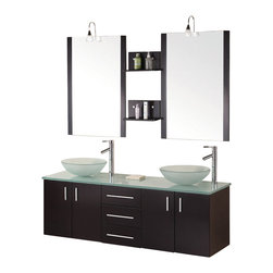 "Design Elements - Design Elements DEC005 Vanity in Espresso - The Modena 61"" double-sink vanity set is elegantly constructed of solid hardwood. The natural aqua color of the tempered glass sinks and countertop contrasts beautifully with the rich espresso of the cabinetry to bring a clean and contemporary look to any bathroom. Seated at the base of the round vessel sinks are chrome pop-up drains, designed for easy one-touch draining. Included are two matching espresso framed mirrors with joining shelves and lighting accents. The vanity features two soft-closing double-door cabinets and three drawers, all adorned with satin nickel hardware."