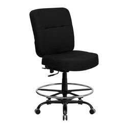 Flash Furniture - Flash Furniture Hercules Drafting Stool with Extra Wide Seat in Black - Flash Furniture - Drafting Chairs - WL735SYGBKDGG - This drafting chair has been tested to hold up to 400 lbs.! Not only will this chair hold the above average person but it is amazingly comfortable. Chair will appeal for users of all heights and weights because of its comfort and sturdy construction.