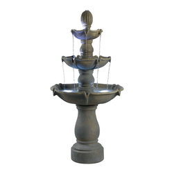 Kenroy Home - Kenroy 50333DT Sherwood Outdoor Floor Fountain - Sherwood's 3 tiers stand 62 inches tall and has 12 points where water falls. This splendid display of light and water movement is beautifully detailed, and will be a majestic focal point in any garden or outdoor living space.