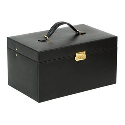 Wolf Designs - Black Jewelry Box - 6 Drawer - This 6 Drawer Jewelry Box from Chelsea Collection provides elegant and functional accessories storage for a multitude of jewelry collections. Part of the Heritage Collection, this jewel case assortment ranges from the large, grand cases with multiple storage drawers and removable travel cases to the compact and travel-ready sizes perfect for your weekend getaway. This case features a black smooth faux leather exterior with tan plush interiors and gold plated accents and closures.