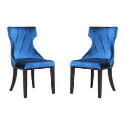 None - Regis Velvet Dining Chairs (Set of 2) - These velvet-finished chairs bring sophistication and style to any room. Inspired by the classic form of Greek Klismos chairs,these dining chairs are padded for your comfort,with splayed front legs and an angular back,that will fit in with any decor.