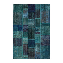 """Pre-owned Turquoise Overdyed Turkish Patchwork Carpet - Traditional Turkish patterns from an assortment of vintage pieces mix to make this hand made, naturally distressed vintage rug. Full cotton backing and decorative blanket stitch edging.     Remnants of vintage wool on a cotton warp, made entirely by hand in the '60's through '80's when Turkish women still included weaving in their daily homemaking chores. Employing the sturdy double knot technique unique to Turkish rugs, multicolor floral and medallion motifs were created a row at a time using bright hand dyed wools. Considered too old fashioned for modern Turkish homes in their traditional incarnations, these rugs have languished in back rooms of the bazaars‰Ű_until now, as these fragments in excellent condition are overdyed and combined to create modern patchwork statements for the floor.    Note from the seller: """"Our revitalization process keeps rugs that may otherwise get tossed out of landfill. Repurposed discards are helping artisans connect and create, supporting the community we're building here in Istanbul to revive vanishing traditional fiber crafts.‰Űť    Please note that all sales are final - These amazing rugs are coming direct from Istanbul, Turkey and returns will not be allowed."""