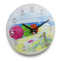 It`s 5 O`Clock Somwhere Beach Themed Wall Clock 15 in. - As the saying goes `it`s 5 O`clock somewhere`, and this fun clock puts that saying to good use proving that it can always be 5 O`clock every time you read it! It`ll add a fun, colorful accent to your kitchen, porch, patio or bar with it`s umbrellas and lounge chair on the beach design, helping you usher in thoughts of paradise while sipping margaritas or cocktails! It`s made from pressed wood and is 15 inches (38 cm) in diameter, and features a quartz movement that requires just 1 AA battery to run (not included). Hang this in the entryway to welcome your guests with a little beach flair!