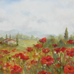 Poppies (Original) by Chris Brandley - A Tuscan field of poppies in full bloom.