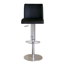 Baxton Studio - Baxton Studio Marcus Black Leather Bar Stool - The combination of steel and black leather help to make this bar stool into one that you will enjoy using for many years to come. Durable bonded leather upholstery for longer lasting use and stain resists for easy clean up. Chair constructed with sturdy steel frame lightly padded with high density foam for added comfort. The steel footrest will help to make this chair more comfortable and the bonded leather seat and back will hold up well to wear and tear. Height Adjustable stool features full 360 degrees swivel.