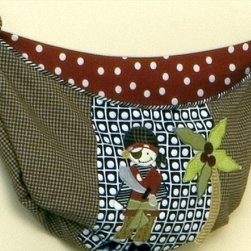 """Cotton Tale Designs - Pirates Cove Toy Bag - A quality baby bedding set is essential in making your nursery warm and inviting for your newborn. All Cotton Tale patterns are made using quality materials and are uniquely designed to create your perfect nursery. Part of the Pirates Cove collection, this toy bag is brown check with a pirate appliqued on the front, lined in red polka-dot to hold toys or supplies and can be tied onto your little swashbuckler's changing table, or hung on the wall for decoration, but never hang it on the crib. Machine wash, cold water, gentle cycle, separately. Tumble dry low, or hang to dry. This collection is perfect for your little boy, but can be used for a girl as well.;Dimensions: 27""""L x 1""""W x 13""""H"""