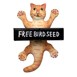 Songbird Essentials - Dangling Orange Tabby Cat Square Metal Tray Birdfeeder - Songbird Essentials' birdfeeders are built around a metal tray with a mesh bottom to allow for proper drainage. Next, we add a hand-carved & painted figure to keep watch while our feathered friends eat. Each birdfeeder is coated with polyurethane to prote