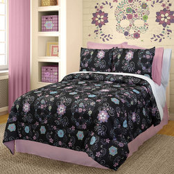 Veratex - Veratex Rainbow Skulls 3-piece Comforter Set - Give her bedroom a girly yet rebellious touch with this chic comforter,bedskirt and sham set by Veratex. Crafted with black fabric,this machine washable bedding boasts a multicolored floral skull motif for a style that is both sweet and sassy.