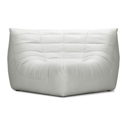 ZUO MODERN - Carnival Corner Chair White - Like curling up in someone's arms, the Carnival sectional set is wrapped in a soft leatherette, padded and tufted in all the right ways. Comes in espresso, black and white.