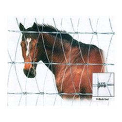 "HUTCHISON INC - 58 In. x 165 Ft. Fence V-Mesh CF - V-Mesh Fence Constructed by continuously interweaving - vertical wires with horizontal cable. This process forms perfect hinge joints - every 8"" of height, allowing fence to flex. Dense wire spacing prevents possible hoof and leg injury and keeps predators from entering. Design also makes fence extremely difficult to climb or get toe-hold in which keeps people out. 58 in. X165 FT. Fence V-Mesh CF. Size: 58"" H x 165 Ft . Style I-2Horizontal Wire Gauge - 12-1/2 Vertical Wire Gauge - 14"