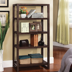 Furniture of America - Furniture of America Regibel Solid Wood 5-tier Display Bookcase - Keeping your books organized has never been easier than when you use this sturdy five-tier bookcase. from Regibel. It is made from solid wood for added durability, and it has an espresso finish to match a variety of home furnishings.